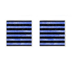 Stripes2 Black Marble & Blue Watercolor Cufflinks (square) by trendistuff
