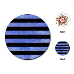 Stripes2 Black Marble & Blue Watercolor Playing Cards (round) by trendistuff