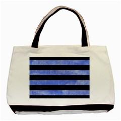 Stripes2 Black Marble & Blue Watercolor Basic Tote Bag by trendistuff