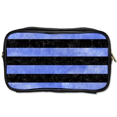 Stripes2 Black Marble & Blue Watercolor Toiletries Bag (two Sides) by trendistuff