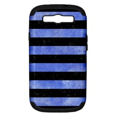 Stripes2 Black Marble & Blue Watercolor Samsung Galaxy S Iii Hardshell Case (pc+silicone) by trendistuff