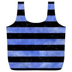 Stripes2 Black Marble & Blue Watercolor Full Print Recycle Bag (xl) by trendistuff