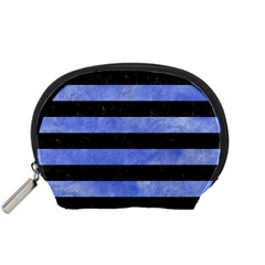 Stripes2 Black Marble & Blue Watercolor Accessory Pouch (small) by trendistuff