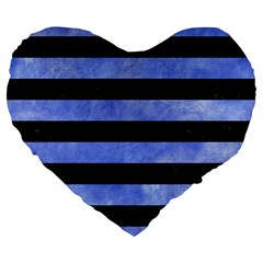 Stripes2 Black Marble & Blue Watercolor Large 19  Premium Flano Heart Shape Cushion by trendistuff