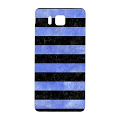 Stripes2 Black Marble & Blue Watercolor Samsung Galaxy Alpha Hardshell Back Case by trendistuff