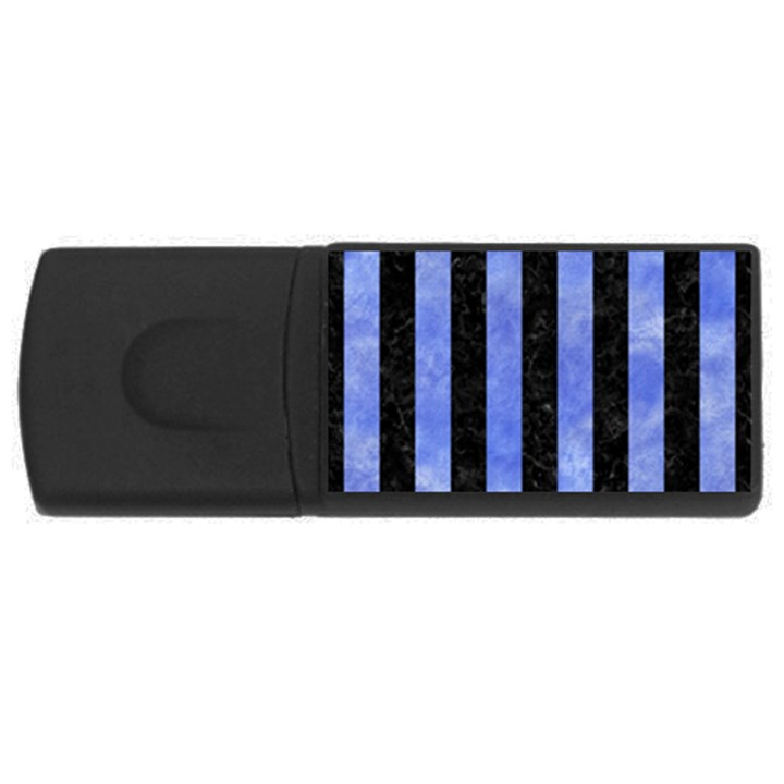 STRIPES1 BLACK MARBLE & BLUE WATERCOLOR USB Flash Drive Rectangular (4 GB)