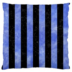 Stripes1 Black Marble & Blue Watercolor Large Cushion Case (two Sides) by trendistuff