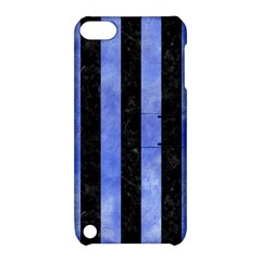 Stripes1 Black Marble & Blue Watercolor Apple Ipod Touch 5 Hardshell Case With Stand by trendistuff