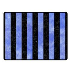 Stripes1 Black Marble & Blue Watercolor Double Sided Fleece Blanket (small) by trendistuff