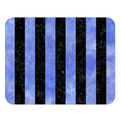 Stripes1 Black Marble & Blue Watercolor Double Sided Flano Blanket (large) by trendistuff
