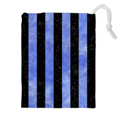 Stripes1 Black Marble & Blue Watercolor Drawstring Pouch (xxl) by trendistuff