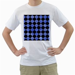 Square2 Black Marble & Blue Watercolor Men s T Shirt (white) (two Sided) by trendistuff