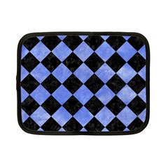 Square2 Black Marble & Blue Watercolor Netbook Case (small) by trendistuff