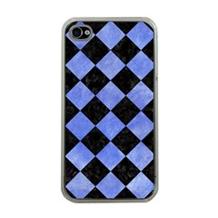 Square2 Black Marble & Blue Watercolor Apple Iphone 4 Case (clear) by trendistuff