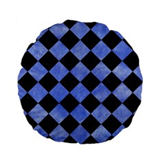 Square2 Black Marble & Blue Watercolor Standard 15  Premium Flano Round Cushion  by trendistuff