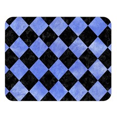 Square2 Black Marble & Blue Watercolor Double Sided Flano Blanket (large) by trendistuff