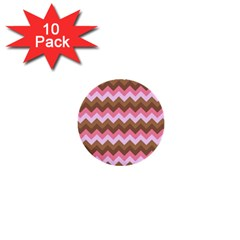 Shades Of Pink And Brown Retro Zigzag Chevron Pattern 1  Mini Buttons (10 Pack)  by Nexatart