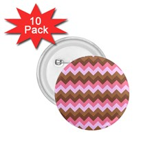 Shades Of Pink And Brown Retro Zigzag Chevron Pattern 1 75  Buttons (10 Pack) by Nexatart