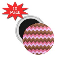 Shades Of Pink And Brown Retro Zigzag Chevron Pattern 1 75  Magnets (10 Pack)  by Nexatart