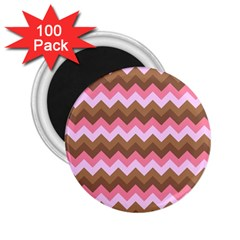 Shades Of Pink And Brown Retro Zigzag Chevron Pattern 2 25  Magnets (100 Pack)
