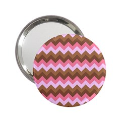 Shades Of Pink And Brown Retro Zigzag Chevron Pattern 2 25  Handbag Mirrors by Nexatart