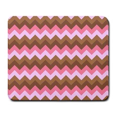 Shades Of Pink And Brown Retro Zigzag Chevron Pattern Large Mousepads
