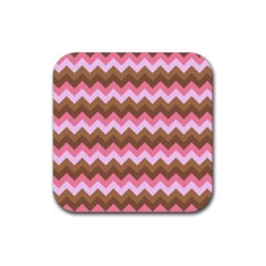 Shades Of Pink And Brown Retro Zigzag Chevron Pattern Rubber Coaster (square)  by Nexatart