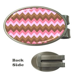 Shades Of Pink And Brown Retro Zigzag Chevron Pattern Money Clips (oval)  by Nexatart