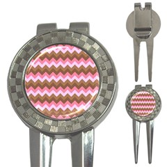 Shades Of Pink And Brown Retro Zigzag Chevron Pattern 3 In 1 Golf Divots