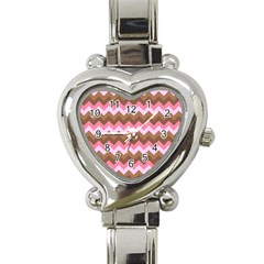 Shades Of Pink And Brown Retro Zigzag Chevron Pattern Heart Italian Charm Watch by Nexatart