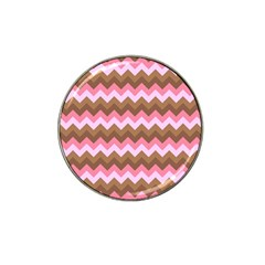 Shades Of Pink And Brown Retro Zigzag Chevron Pattern Hat Clip Ball Marker (10 Pack) by Nexatart
