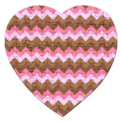 Shades Of Pink And Brown Retro Zigzag Chevron Pattern Jigsaw Puzzle (heart) by Nexatart