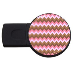 Shades Of Pink And Brown Retro Zigzag Chevron Pattern Usb Flash Drive Round (4 Gb) by Nexatart