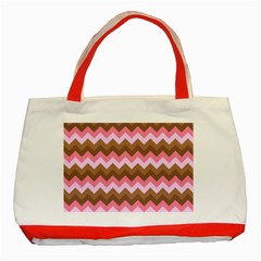 Shades Of Pink And Brown Retro Zigzag Chevron Pattern Classic Tote Bag (red) by Nexatart