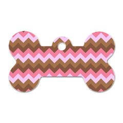 Shades Of Pink And Brown Retro Zigzag Chevron Pattern Dog Tag Bone (two Sides) by Nexatart
