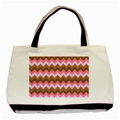 Shades Of Pink And Brown Retro Zigzag Chevron Pattern Basic Tote Bag (two Sides)