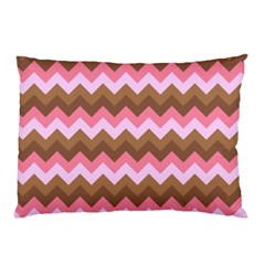 Shades Of Pink And Brown Retro Zigzag Chevron Pattern Pillow Case