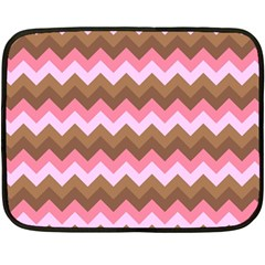 Shades Of Pink And Brown Retro Zigzag Chevron Pattern Double Sided Fleece Blanket (mini)  by Nexatart