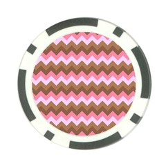 Shades Of Pink And Brown Retro Zigzag Chevron Pattern Poker Chip Card Guard (10 Pack) by Nexatart