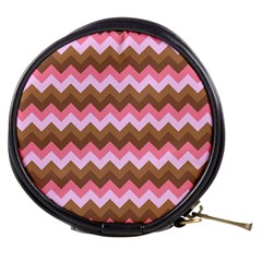 Shades Of Pink And Brown Retro Zigzag Chevron Pattern Mini Makeup Bags by Nexatart