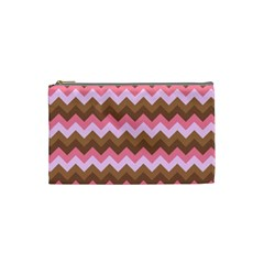 Shades Of Pink And Brown Retro Zigzag Chevron Pattern Cosmetic Bag (small)