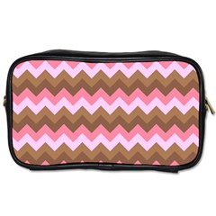 Shades Of Pink And Brown Retro Zigzag Chevron Pattern Toiletries Bags by Nexatart