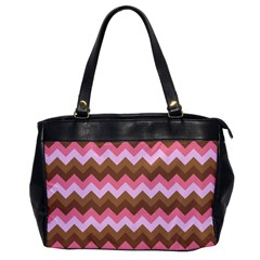 Shades Of Pink And Brown Retro Zigzag Chevron Pattern Office Handbags by Nexatart
