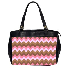 Shades Of Pink And Brown Retro Zigzag Chevron Pattern Office Handbags (2 Sides)  by Nexatart
