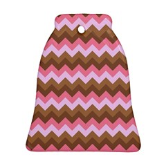 Shades Of Pink And Brown Retro Zigzag Chevron Pattern Ornament (bell)
