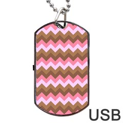 Shades Of Pink And Brown Retro Zigzag Chevron Pattern Dog Tag Usb Flash (two Sides)