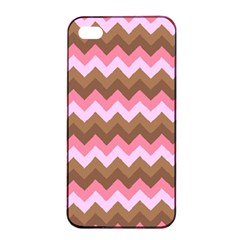 Shades Of Pink And Brown Retro Zigzag Chevron Pattern Apple Iphone 4/4s Seamless Case (black) by Nexatart