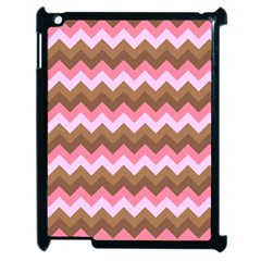 Shades Of Pink And Brown Retro Zigzag Chevron Pattern Apple Ipad 2 Case (black)