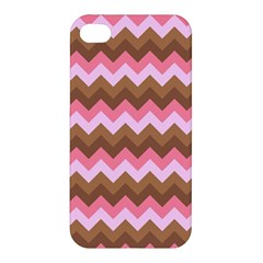 Shades Of Pink And Brown Retro Zigzag Chevron Pattern Apple Iphone 4/4s Premium Hardshell Case by Nexatart