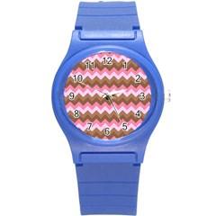 Shades Of Pink And Brown Retro Zigzag Chevron Pattern Round Plastic Sport Watch (s)